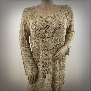Gold Crochet Tunic Sweater Top Gypsy Sleeve XL